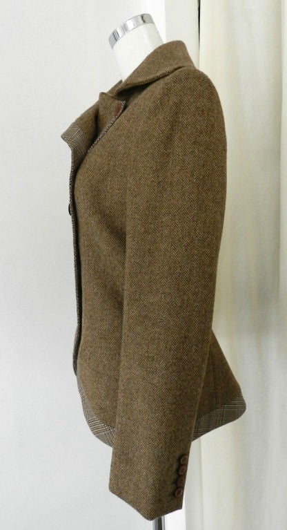 Alexander McQueen Brown Wool Riding Jacket For Sale 1