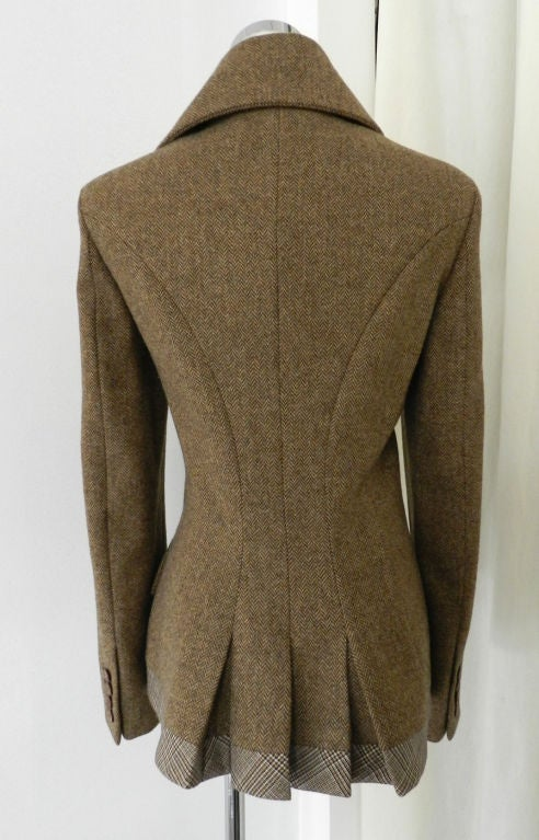 Alexander McQueen Brown Wool Riding Jacket For Sale 2