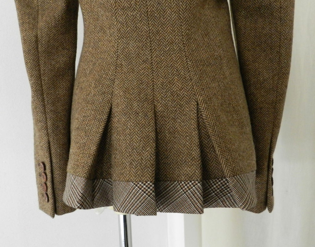 Alexander McQueen Brown Wool Riding Jacket For Sale 3