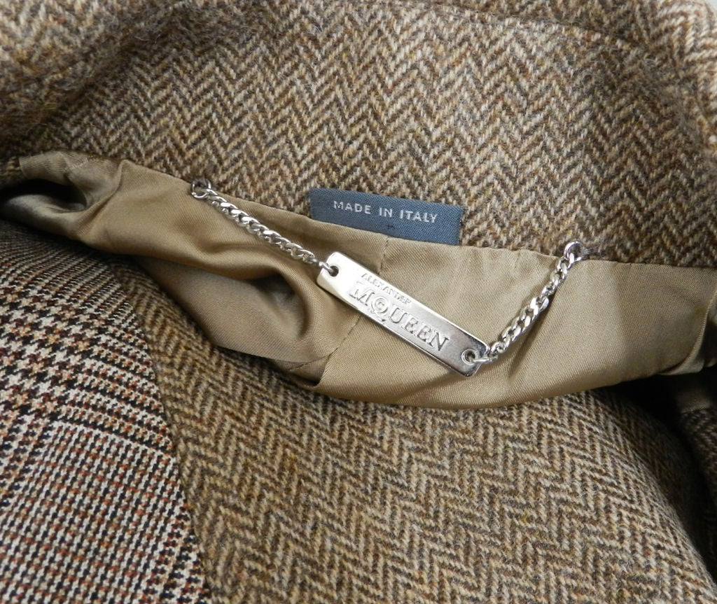 Alexander McQueen Brown Wool Riding Jacket For Sale 4