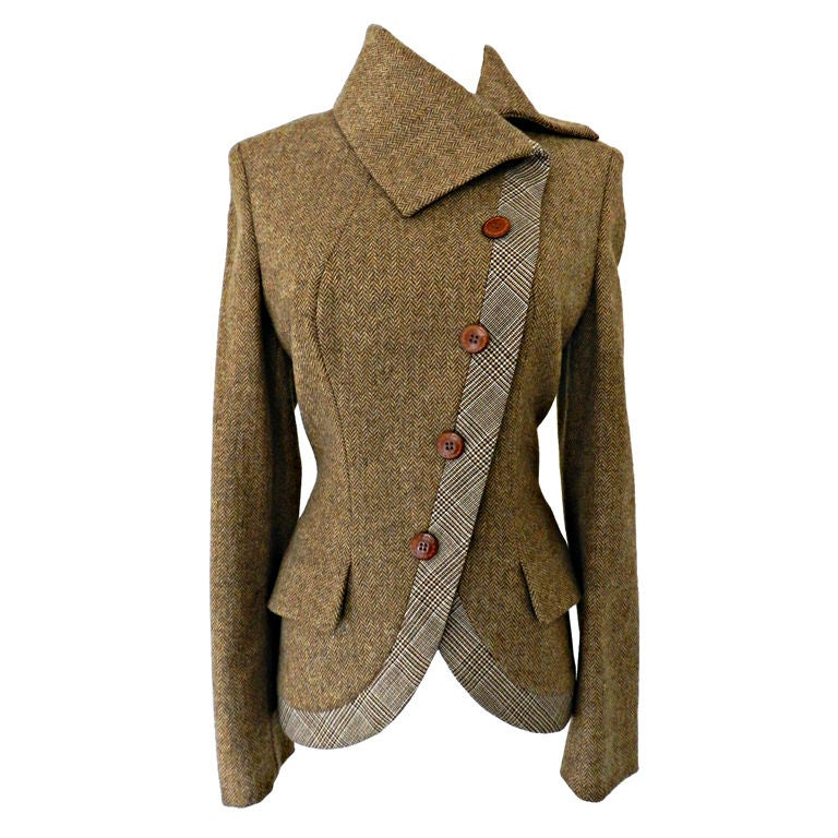 Alexander McQueen Brown Wool Riding Jacket For Sale