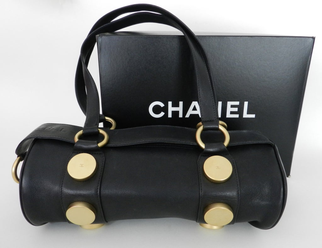 Chanel Purse With Original Box Circa Late 1990 S Black Lambskin Leather Heavy Matte Goldtone