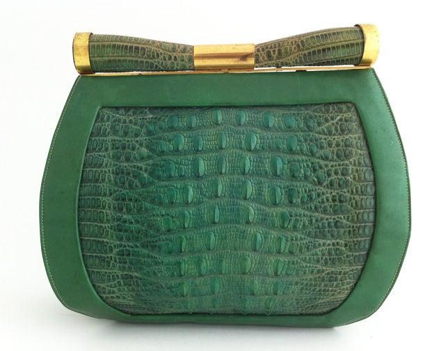 1930's Art Deco Saks Green Lizard Purse 2
