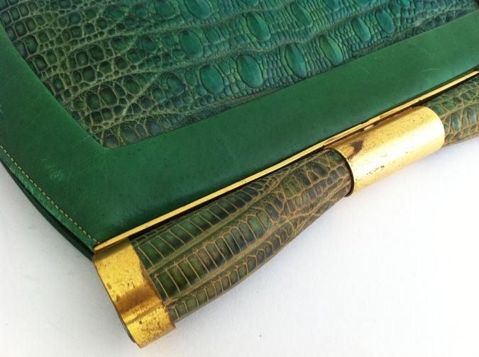 1930's Art Deco Saks Green Lizard Purse 4