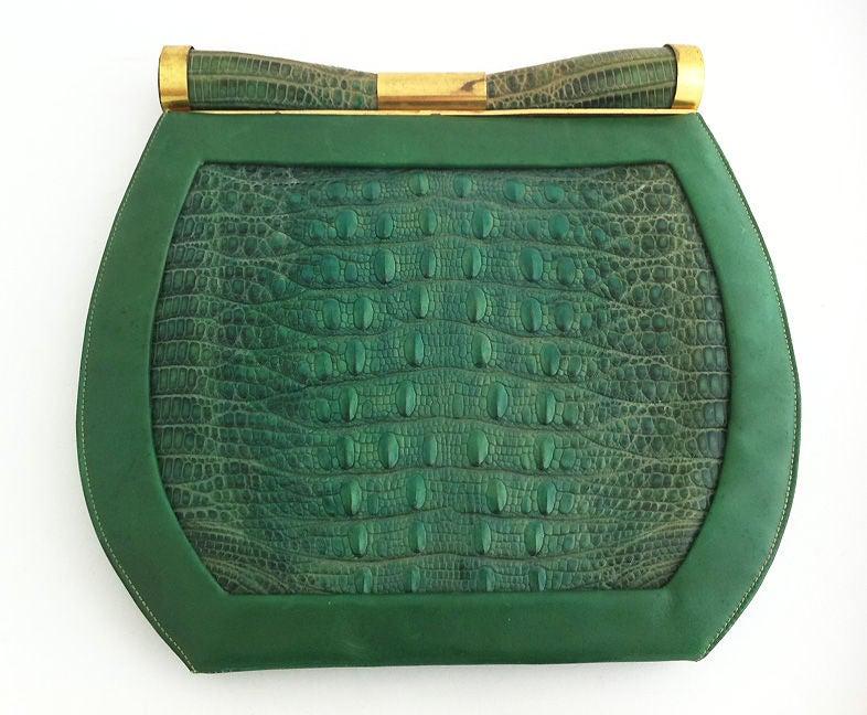 1930's Art Deco Saks Green Lizard Purse 5