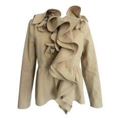 Valentino Beige Ruffle Jacket