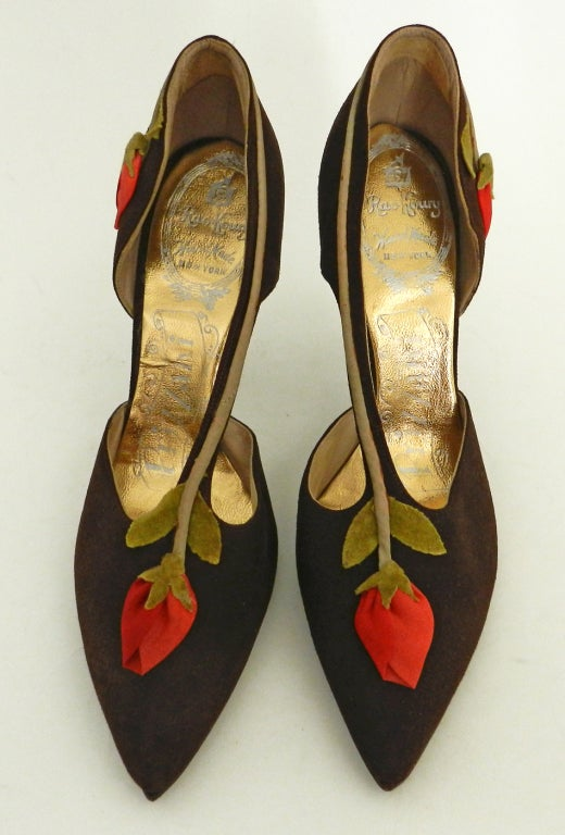 1950 S Brown Suede Shoes With Rosebuds At 1stdibs