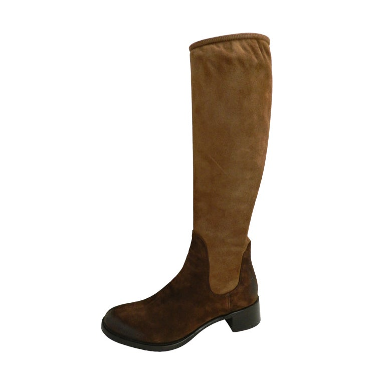 prada brown suede boots at 1stdibs