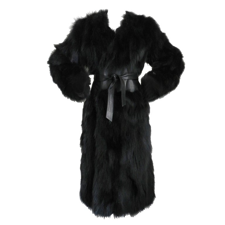 Yves Saint Laurent Haute Couture Black Fur Coat 1