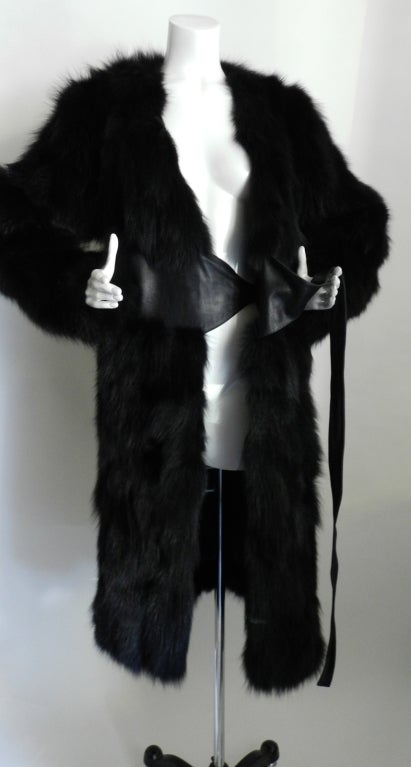 Yves Saint Laurent Haute Couture Black Fur Coat 5