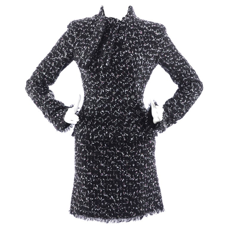 Chanel 06A Black Tweed Skirt Suit 1