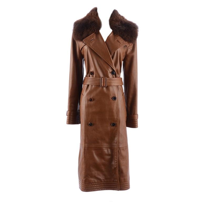 Ralph Lauren Brown Leather Coat 1