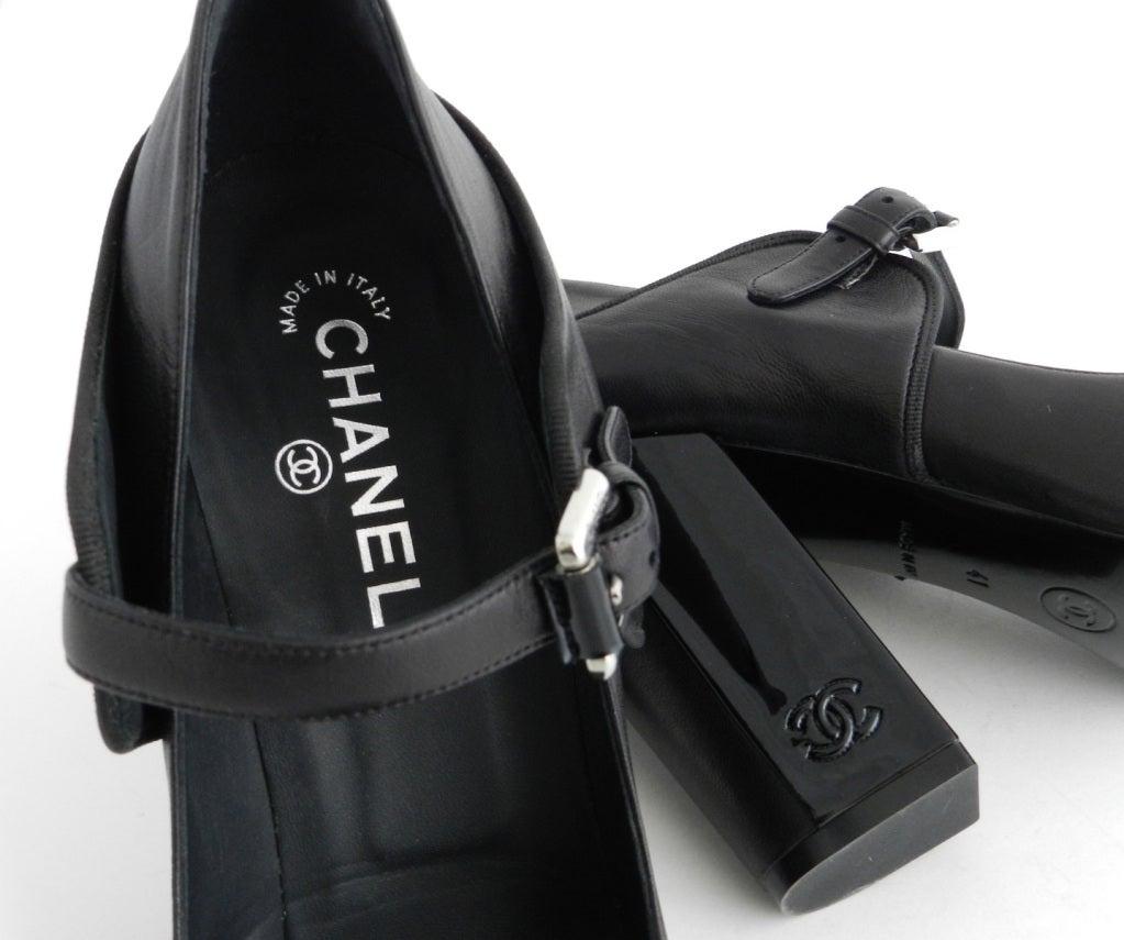 Chanel Black Patent Mary Jane Heels 3