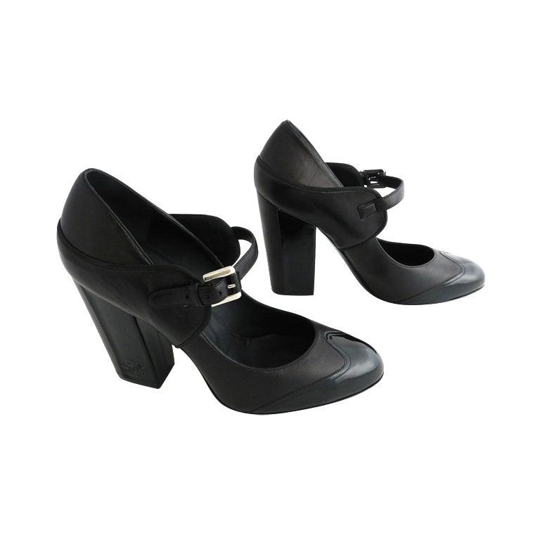 Chanel Black Patent Mary Jane Heels 1