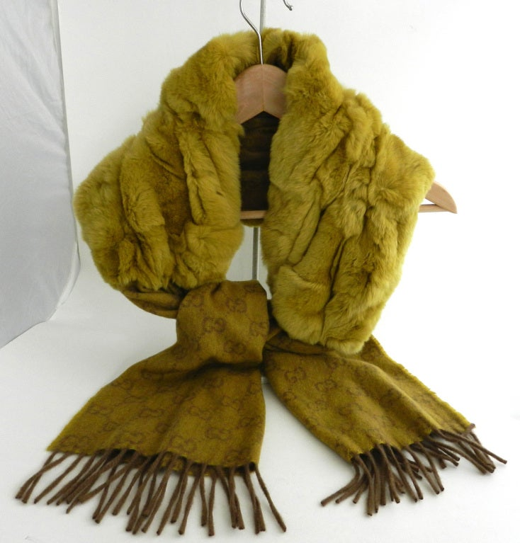 Gucci Chartreuse Cashmere & Fur Scarf image 2