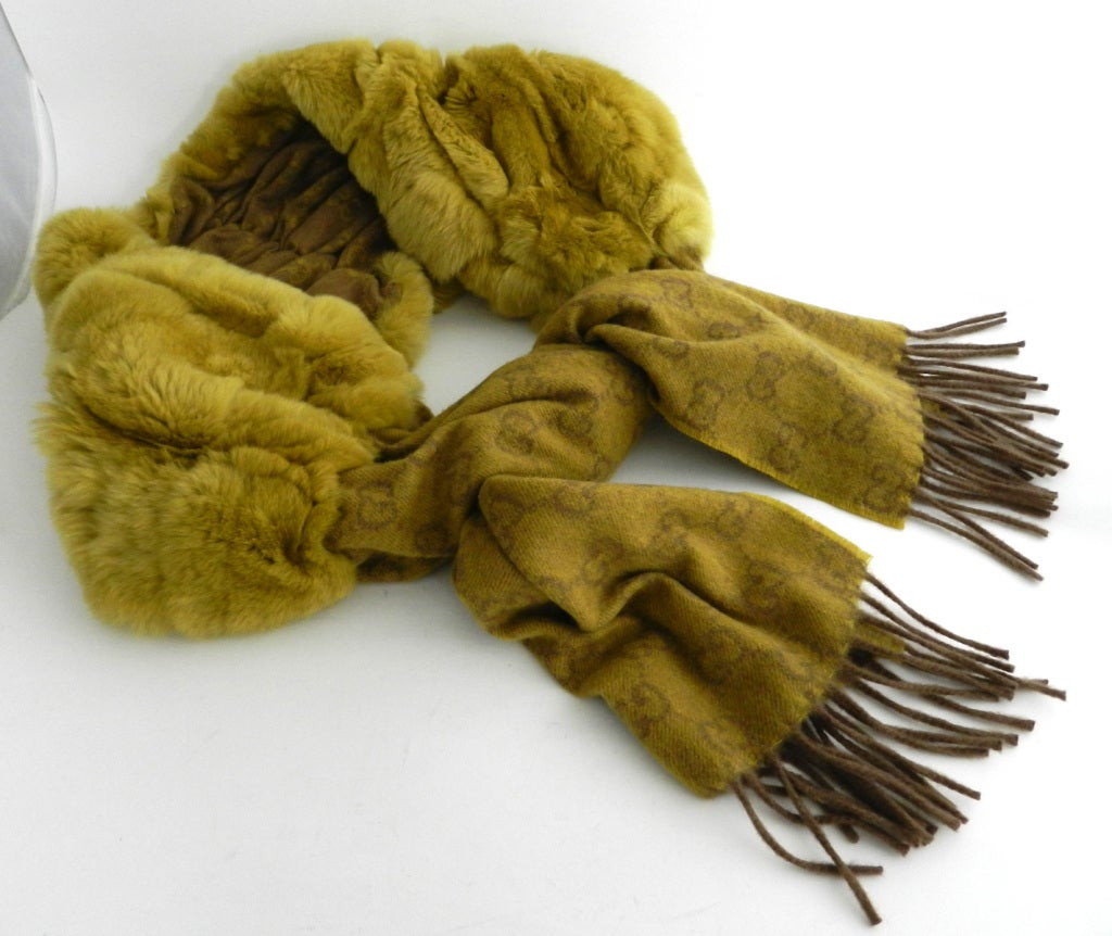 Gucci Chartreuse Cashmere & Fur Scarf image 3
