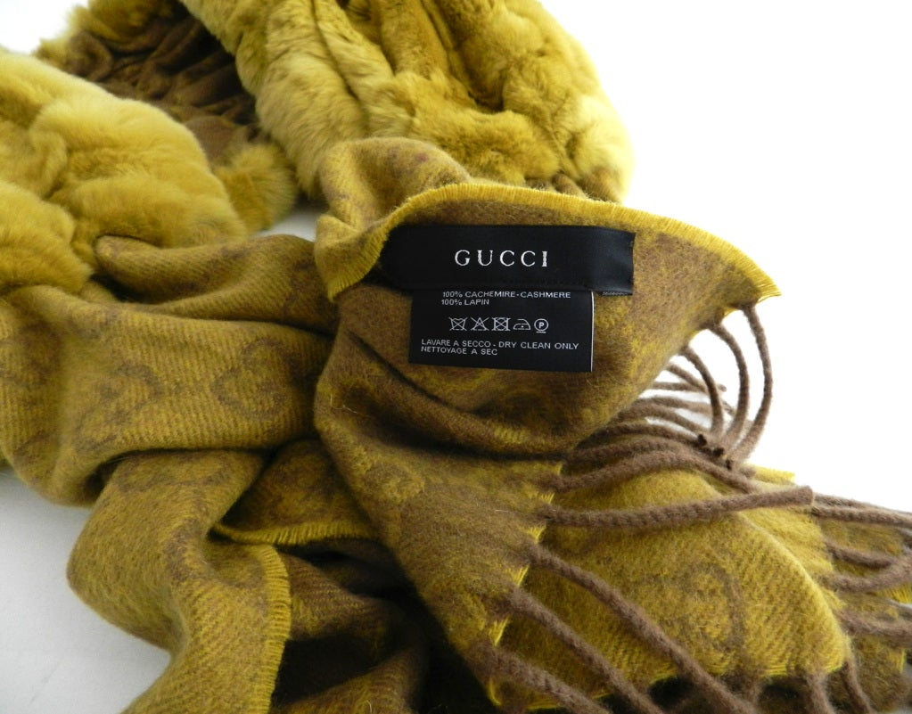 Gucci Chartreuse Cashmere & Fur Scarf image 4