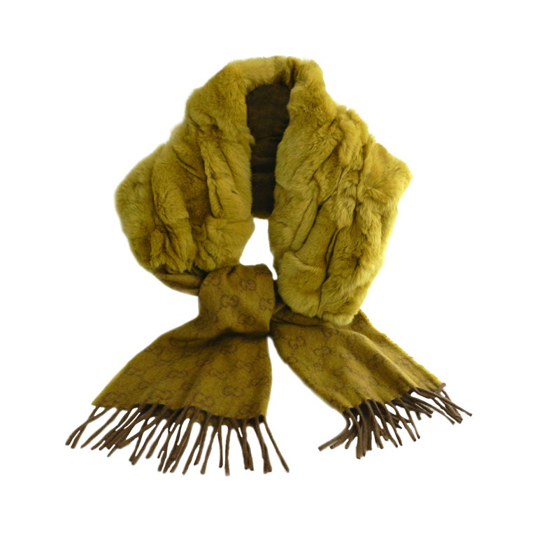 Gucci Chartreuse Cashmere & Fur Scarf