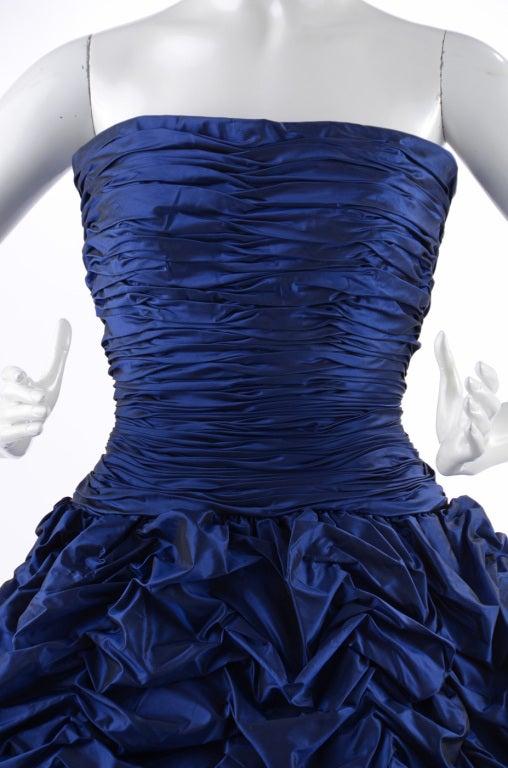 Oscar de la Renta Blue Gown with Shawl 4