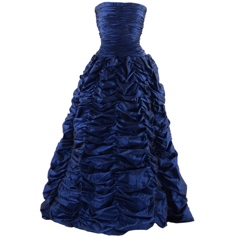 Oscar de la Renta Blue Gown with Shawl 1