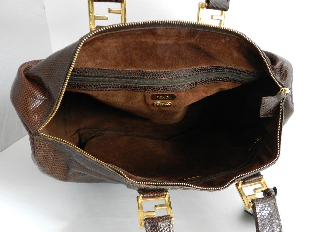 Fendi Brown Lizard Large Speedy Bag 5