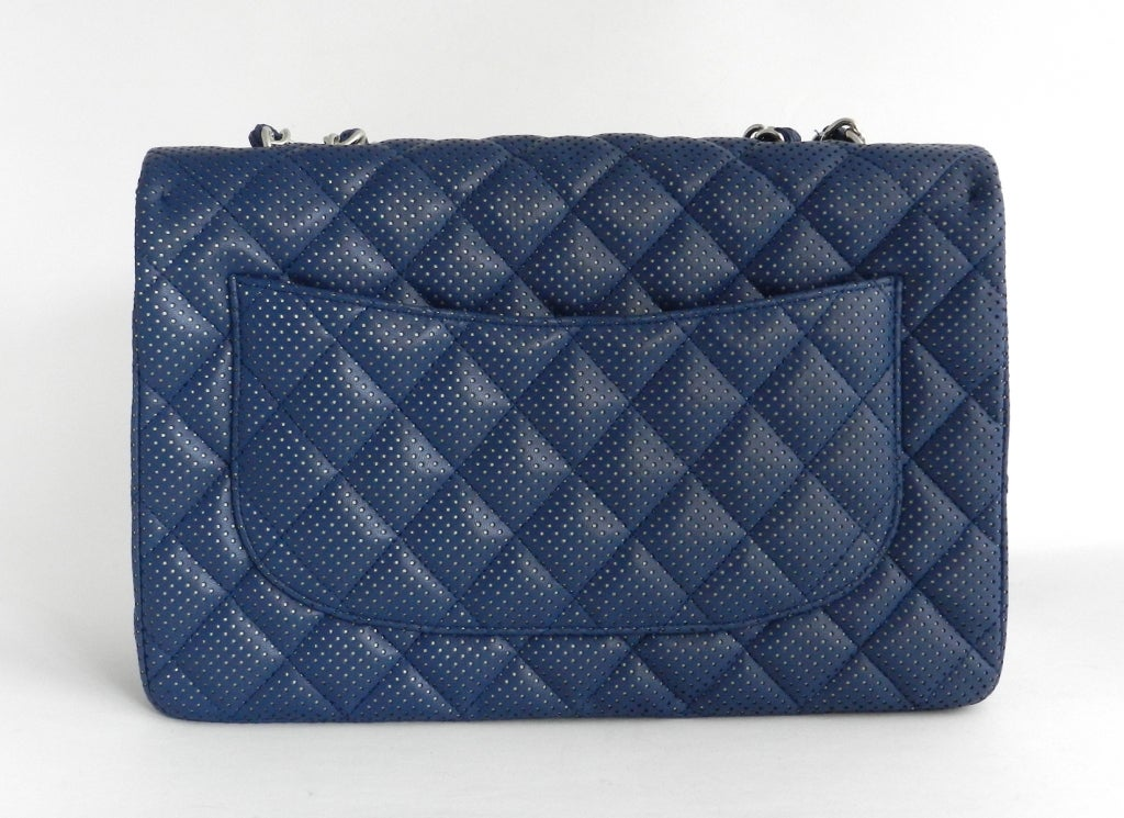 Chanel Blue Perforated Flap Bag 2