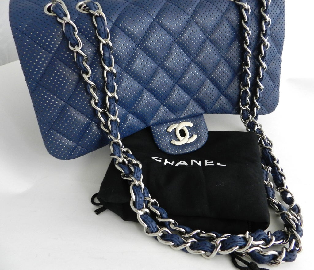 Chanel Blue Perforated Flap Bag 3