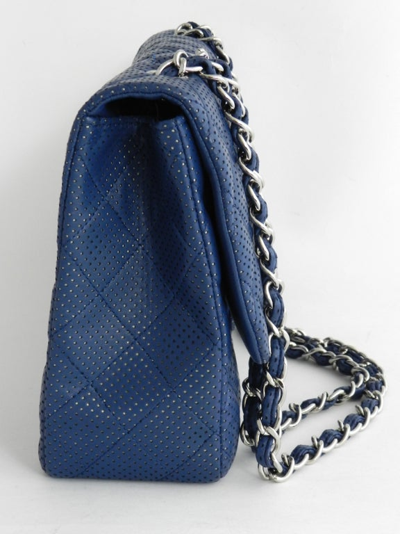 Chanel Blue Perforated Flap Bag 4