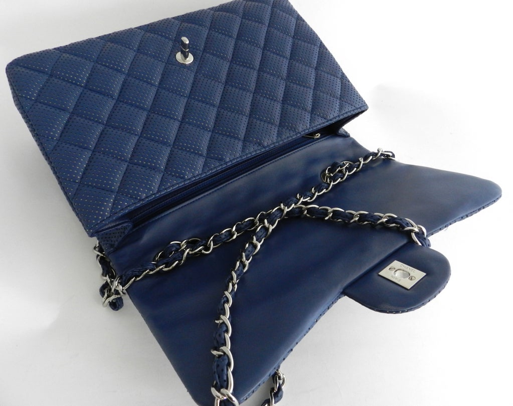 Chanel Blue Perforated Flap Bag 5