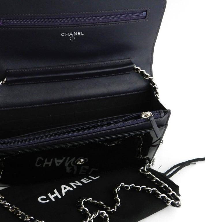 Chanel Purple Patent Wallet Purse 4