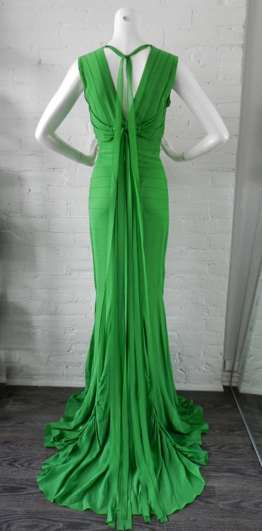 Vera Wang Green Silk Deco Style Gown 2