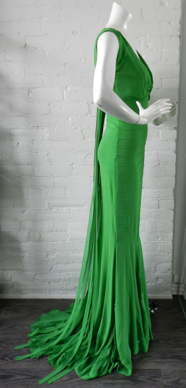 Vera Wang Green Silk Deco Style Gown 3
