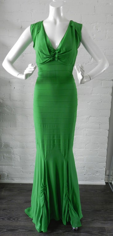 Vera Wang Green Silk Deco Style Gown 4