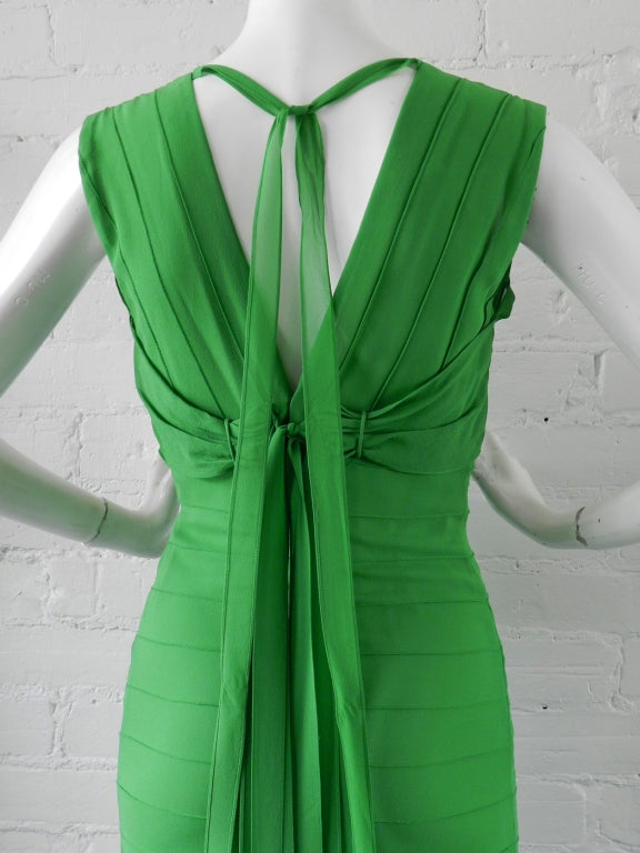 Vera Wang Green Silk Deco Style Gown 5