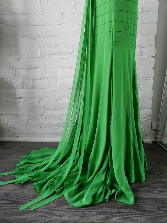 Vera Wang Green Silk Deco Style Gown 6