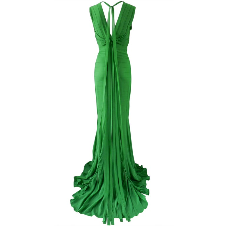 Vera Wang Green Silk Deco Style Gown 1