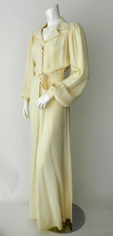Ossie Clark 1970's Ivory Moss Crepe Gown 2