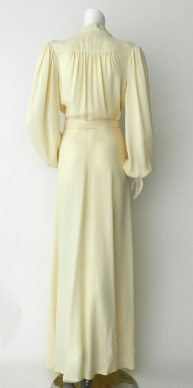 Ossie Clark 1970's Ivory Moss Crepe Gown 3