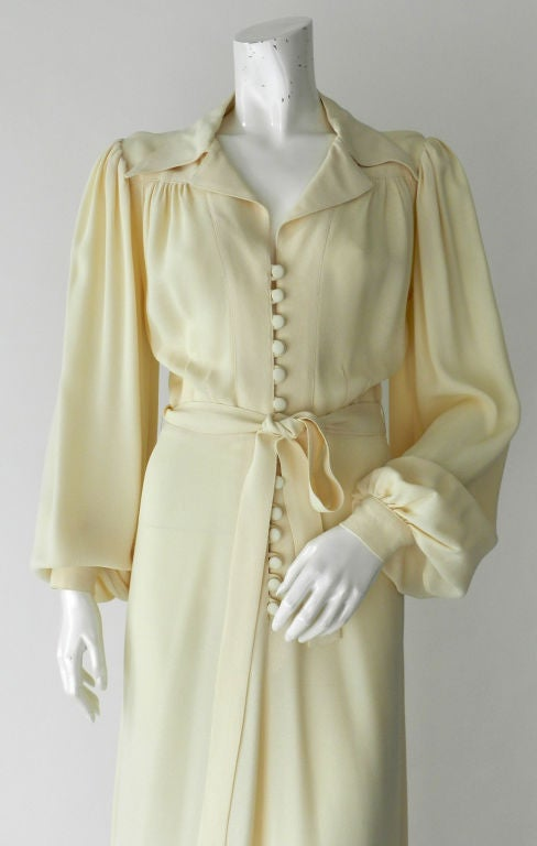 Ossie Clark 1970's Ivory Moss Crepe Gown 4