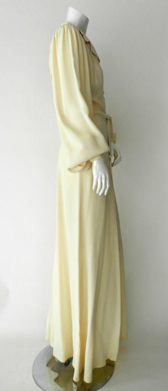 Ossie Clark 1970's Ivory Moss Crepe Gown 5