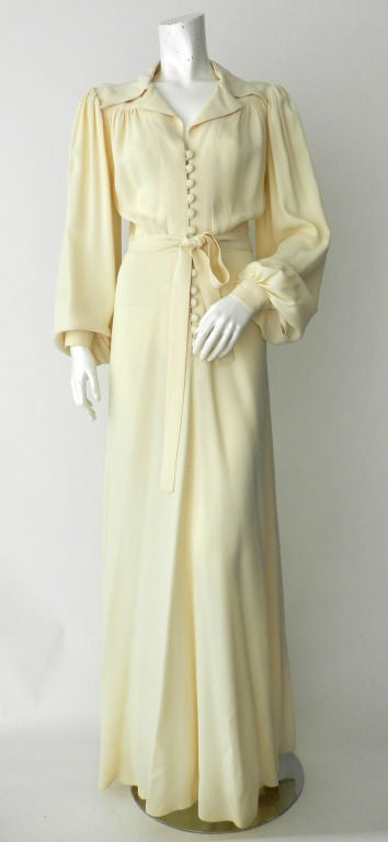 Ossie Clark 1970's Ivory Moss Crepe Gown 7