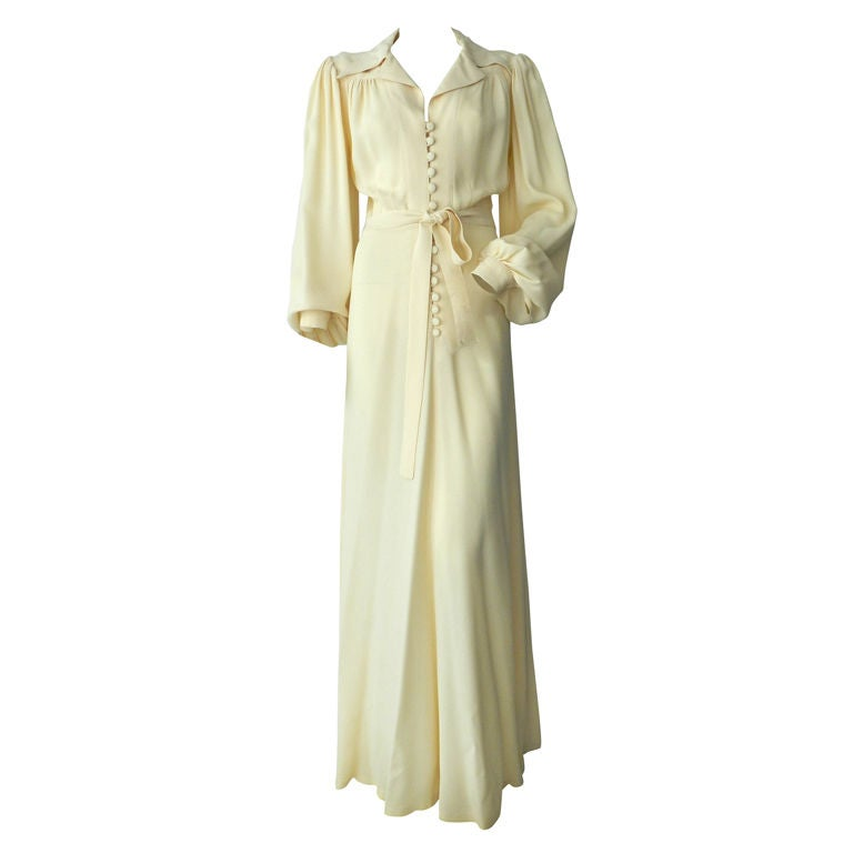 Ossie Clark 1970's Ivory Moss Crepe Gown 1