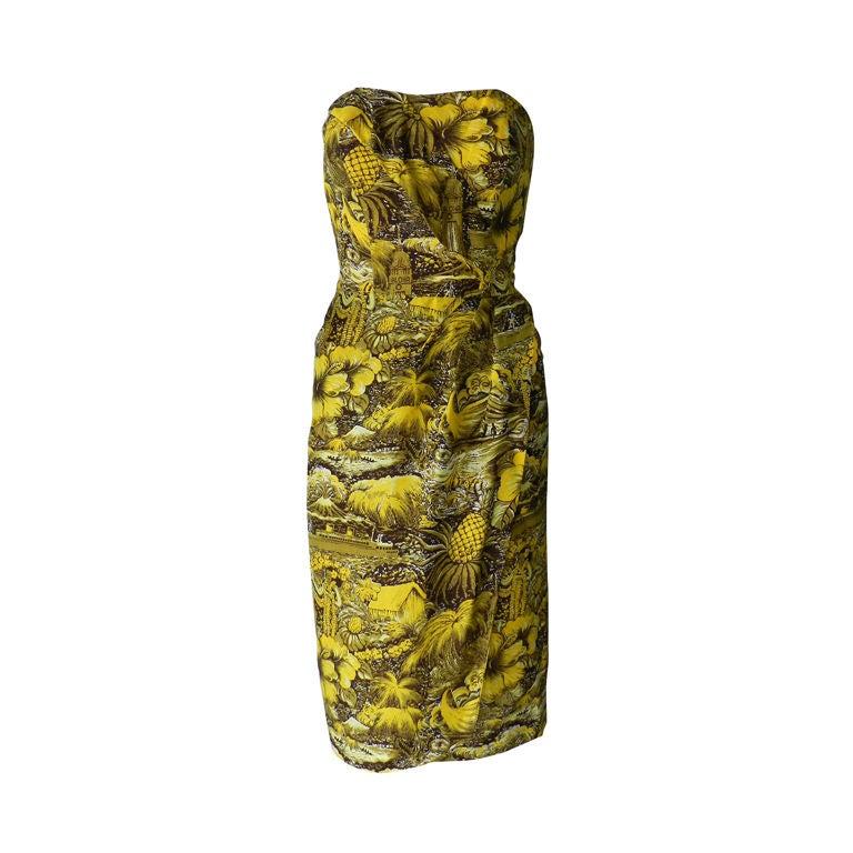 Alfred Shaheen 1950's Silk Hawaiian Dress 1