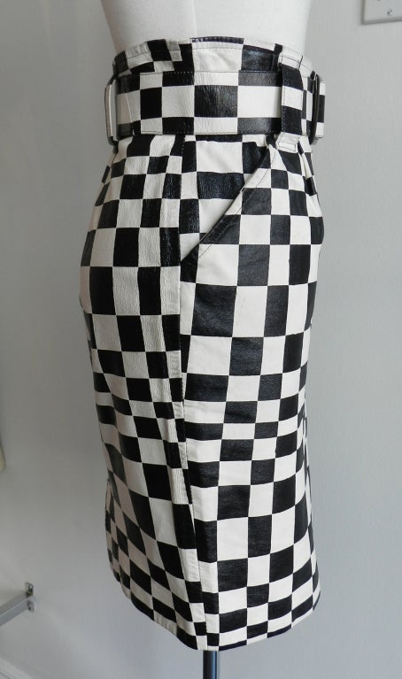 Charles Jourdan Graphic Mod Leather Skirt 1980's 3