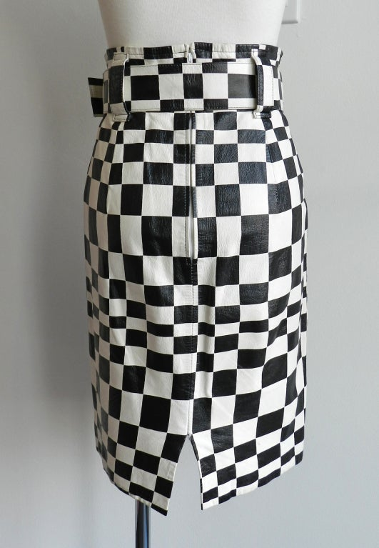 Charles Jourdan Graphic Mod Leather Skirt 1980's 4