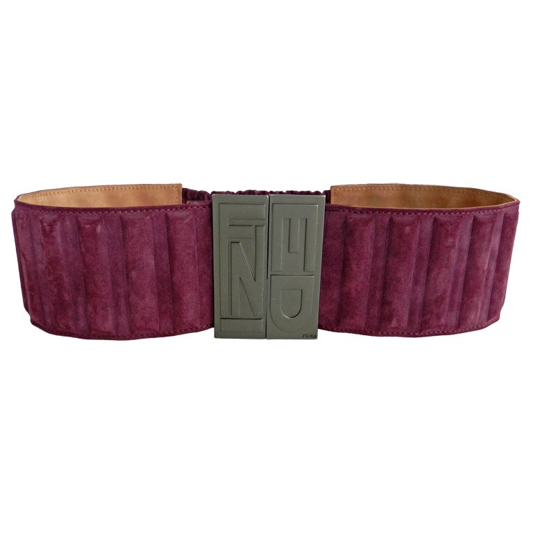 fendi purple suede wide belt