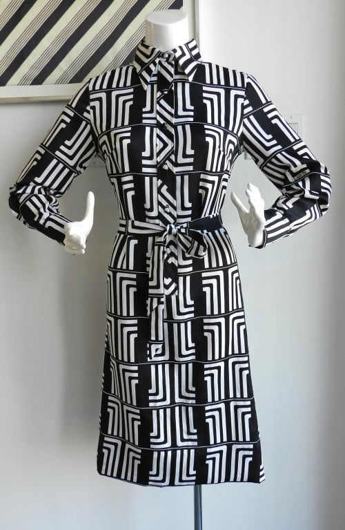 1970's Lanvin Graphic Mod Logo Dress 2