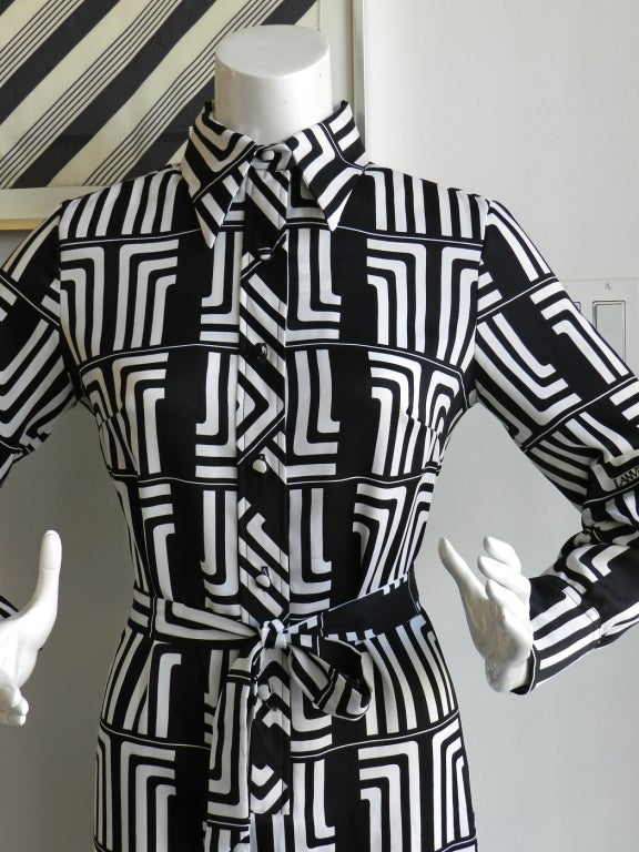 1970's Lanvin Graphic Mod Logo Dress 5