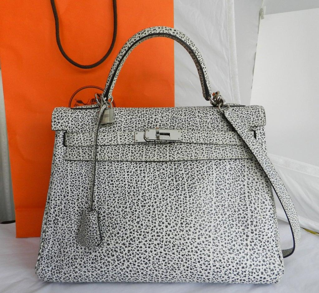kelly purses - Hermes Dalmatian Kelly 32 Bag in Buffalo Skipper Leather at 1stdibs