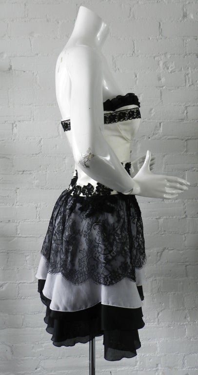 Christian Lacroix Lace and silk Strapless cocktail dress ...